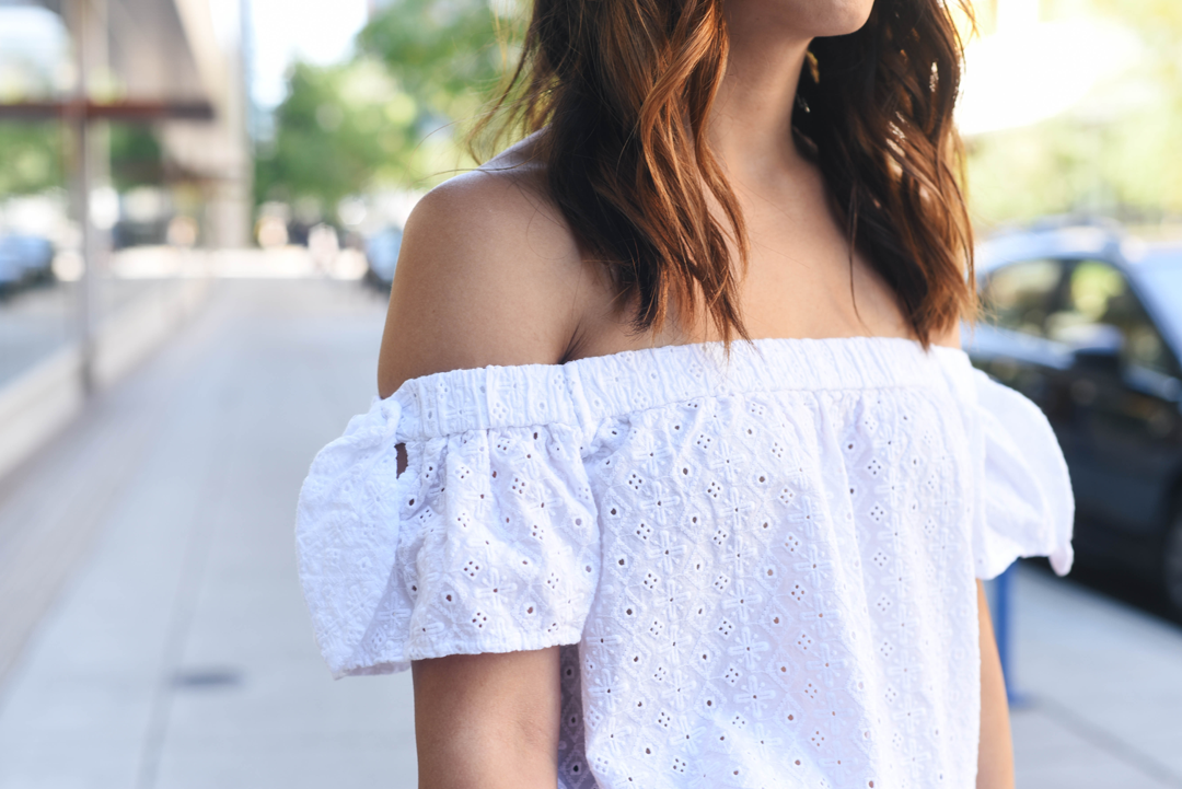 A&F eyelet off the shoulder top