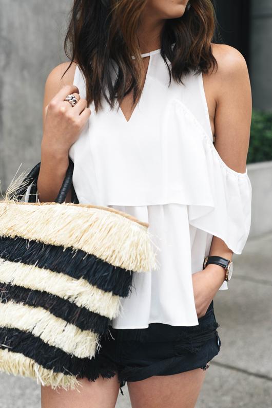 Asos peekaboo white blouse