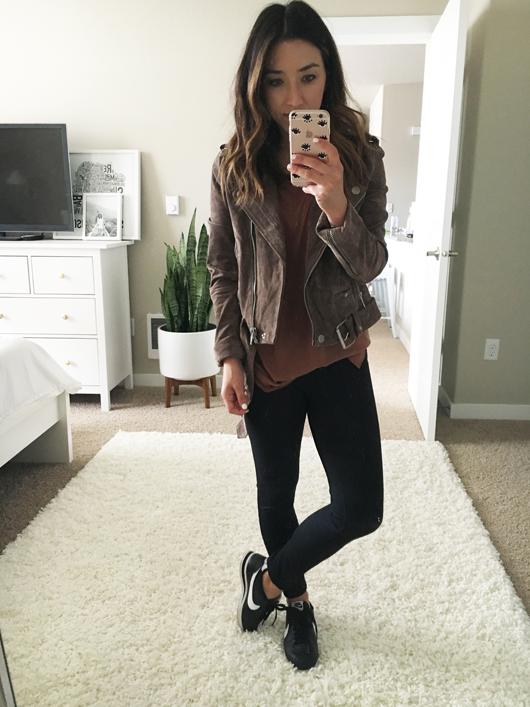BLANKNYC 'Morning' Suede Moto Jacket