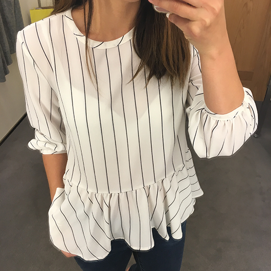BP. Stripe Ruffle Hem Shirt
