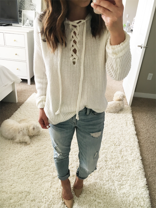 BP. lace up hooded sweater