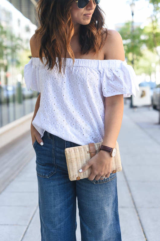 Crystalin Marie wearing Abercrombie & Fitch eyelet off the shoulder top