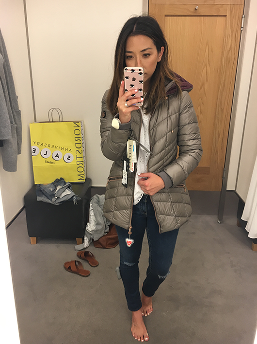 Crystalin Marie wearing Bernardo Packable Jacket with Down & PrimaLoft® Fill