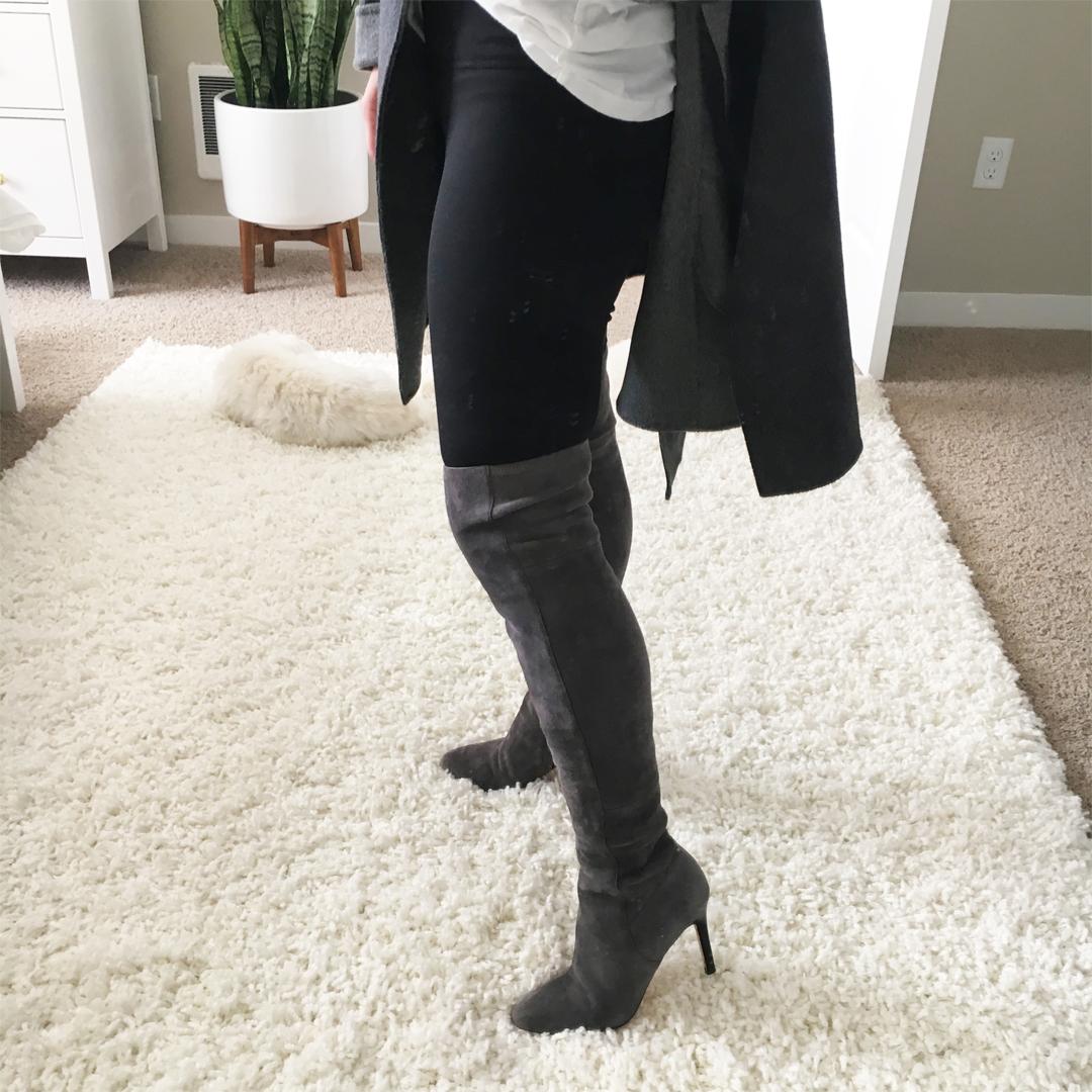 Crystalin Marie wearing Cole Haan Marina Boots