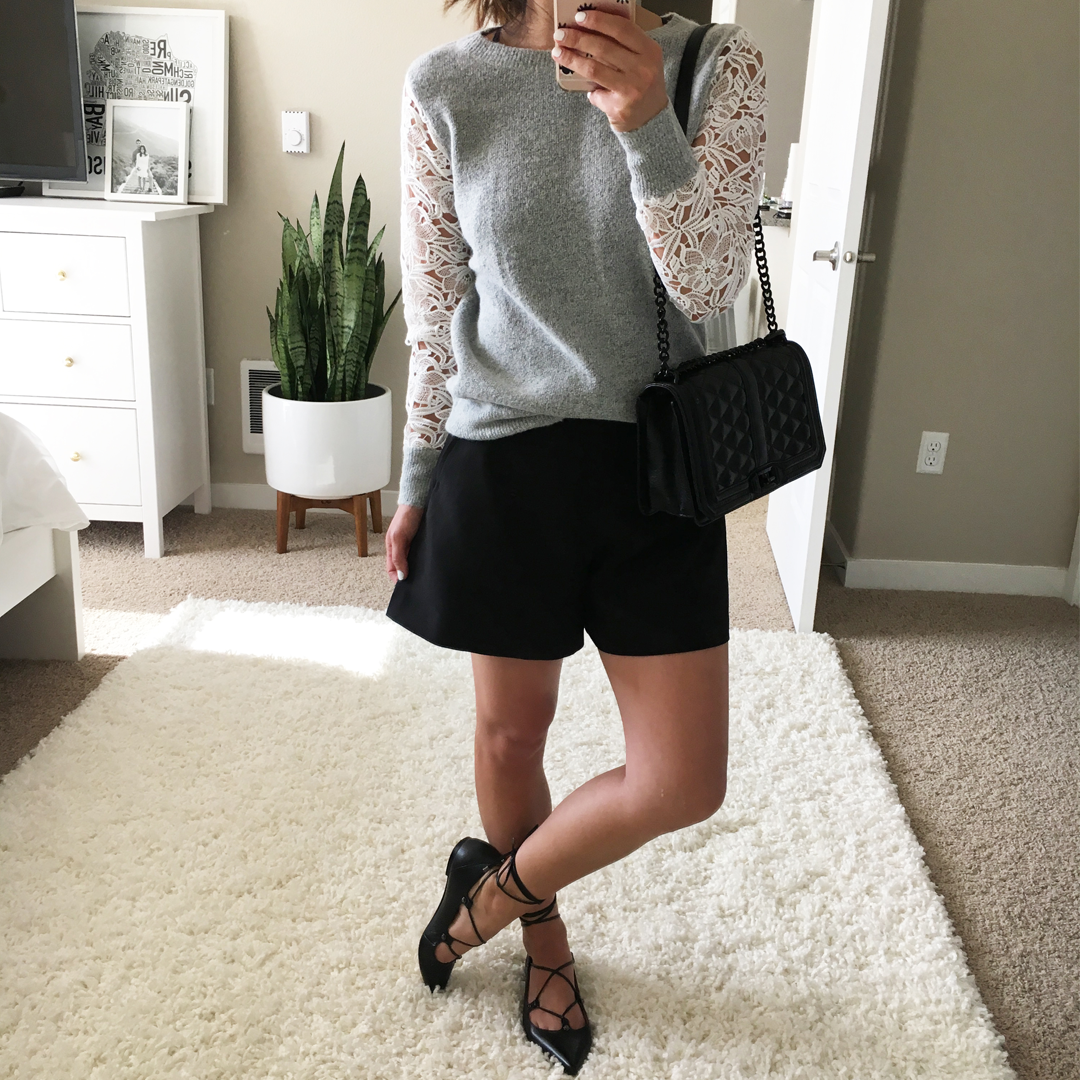 Crystalin Marie wearing Halogen Lace Detail Crewneck Sweater