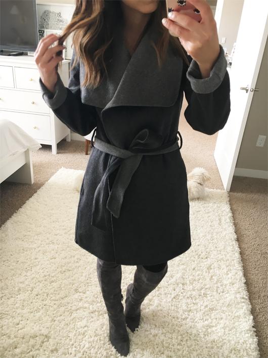 Crystalin Marie wearing Tahari 'Ella' Belted Two-Tone Wool Blend Wrap Coat