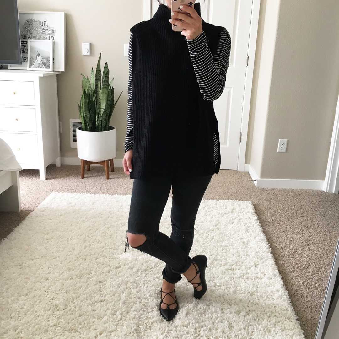 Crystalin Marie wearing Trouvé Funnel Neck Sleeveless Sweater