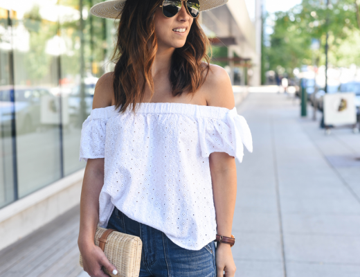 Crystalin Marie wearing eyelet off the shoulder top