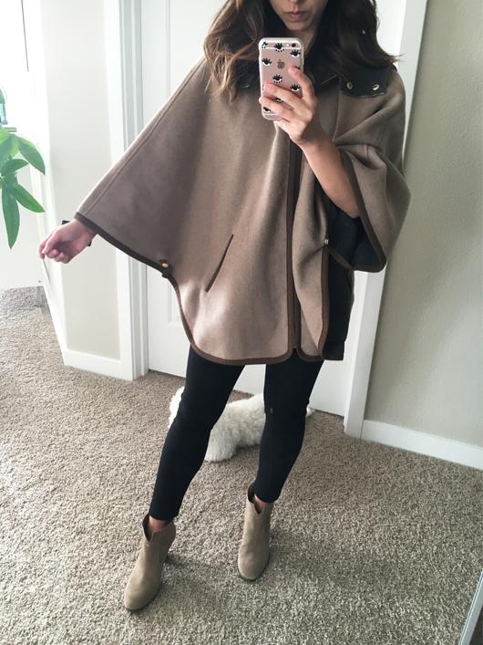 Ellen Tracy Double Face cape coat in wheat