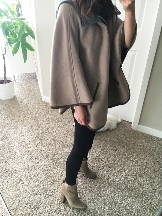Ellen Tracy Double Face cape coat