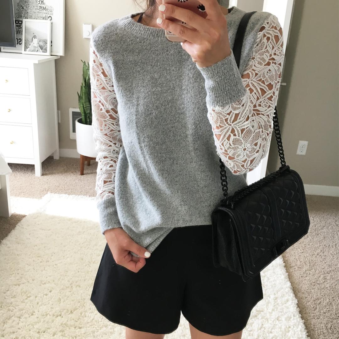 Halogen Lace Detail Crewneck Sweater