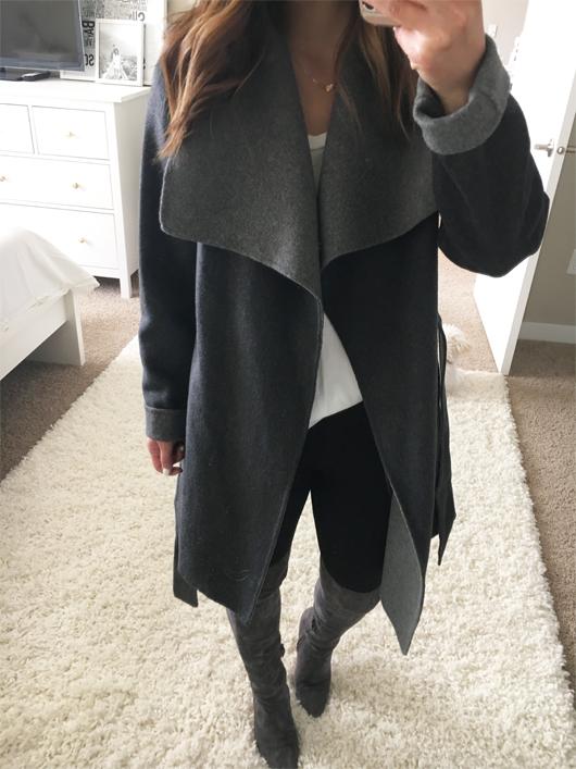 Tahari 'Ella' Belted Two-Tone Wool Blend Wrap Coat
