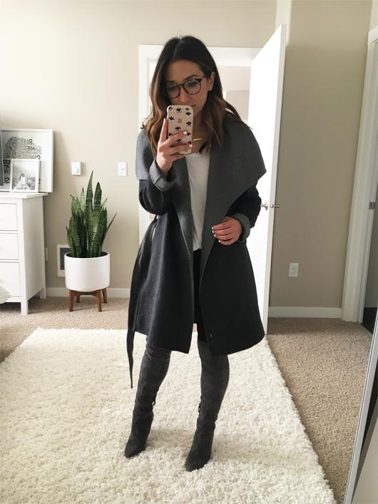 Tahari Petite 'Ella' Belted Two-Tone Wool Blend Wrap Coat
