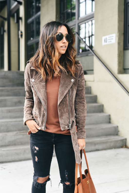 Crystalin Marie wearing BLANKNYC 'Morning' Suede Moto Jacket
