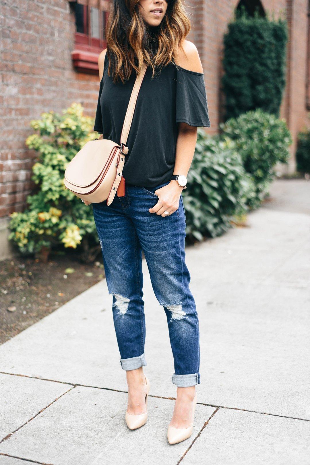 Crystalin Marie wearing Topshop 'Lucus' Petite Ripped Boyfriend Jeans