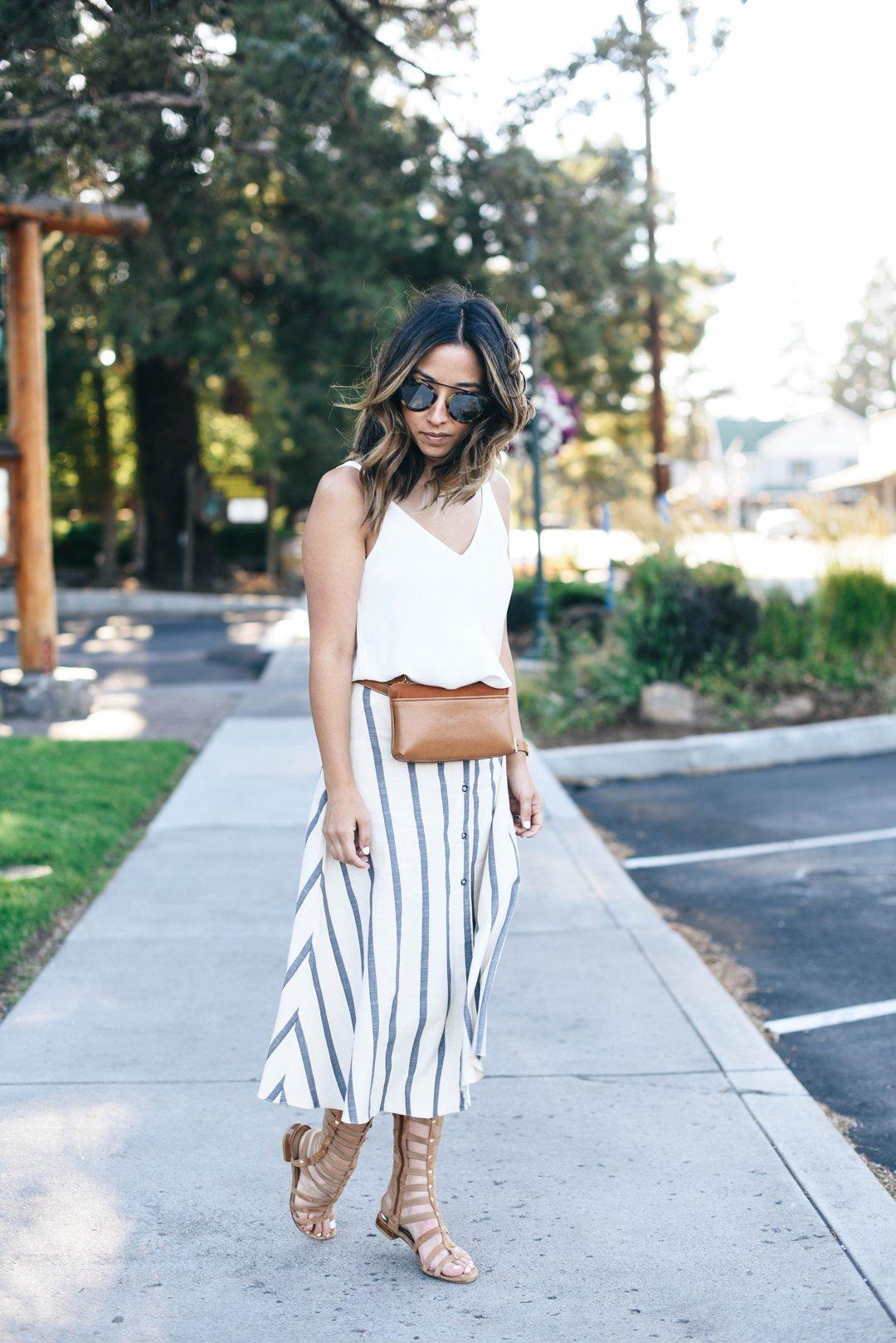 Asos stripe linen midi skirt