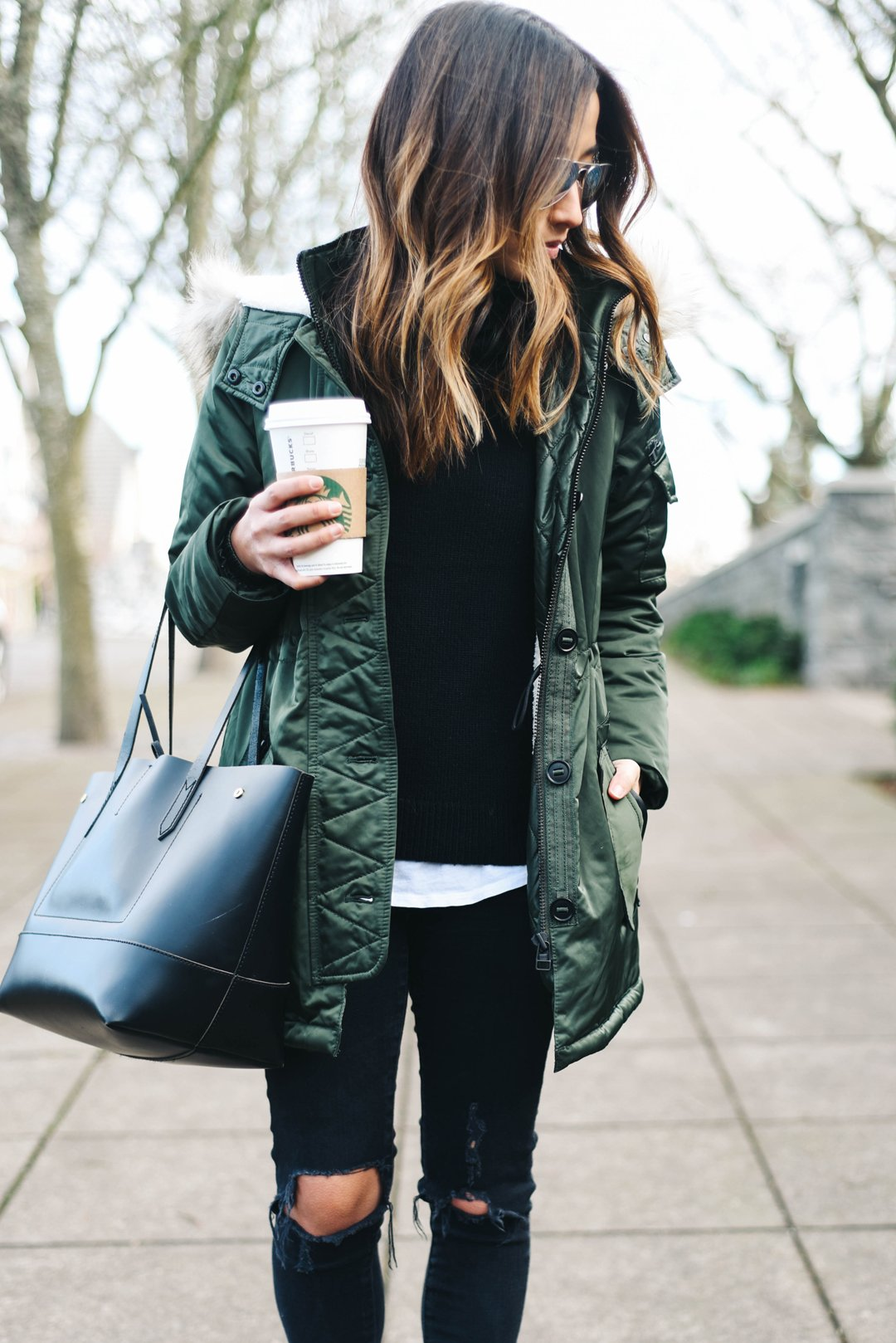 Banana Republic green parka