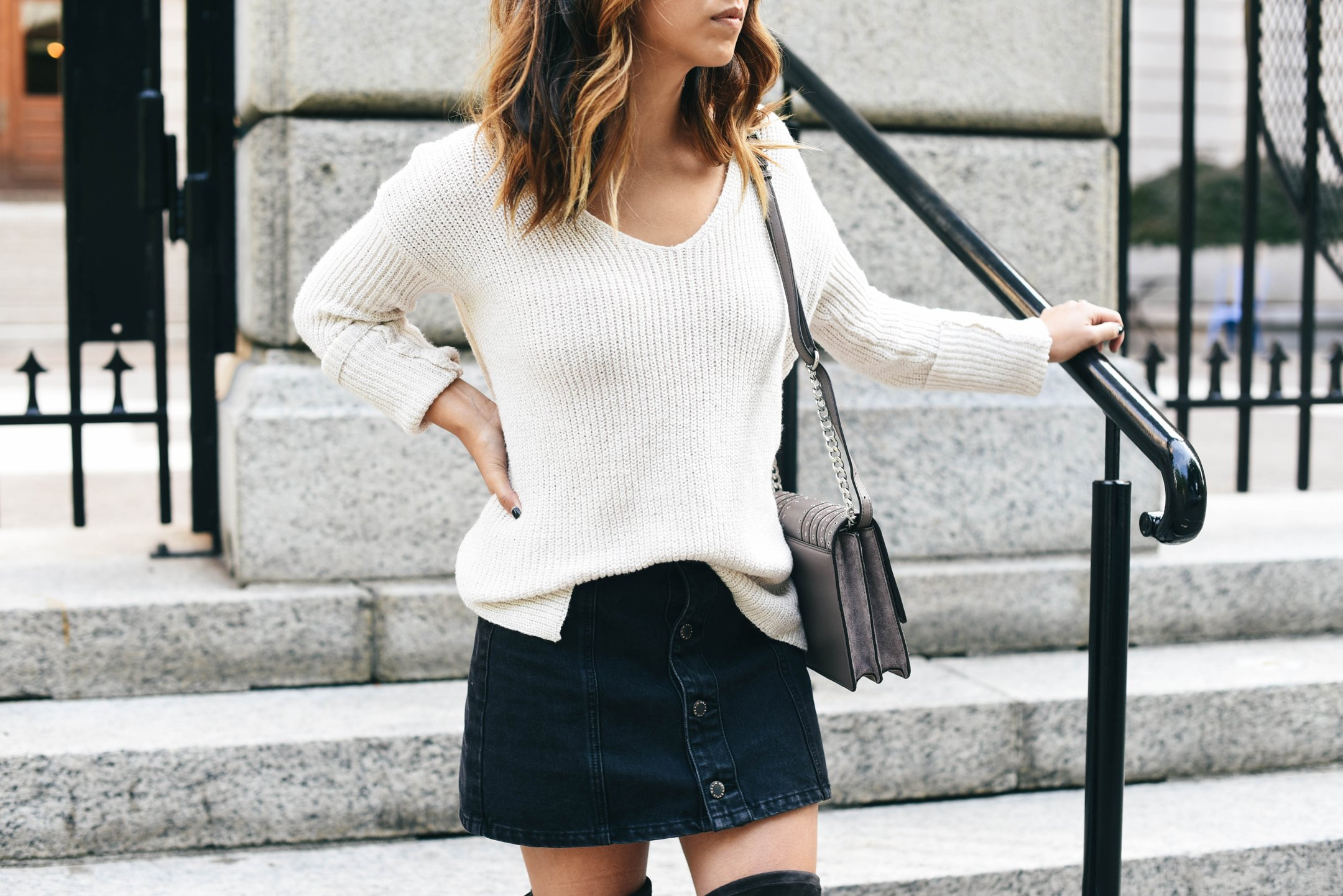 crystalin-marie-wearing-hinge-button-back-v-neck-sweater