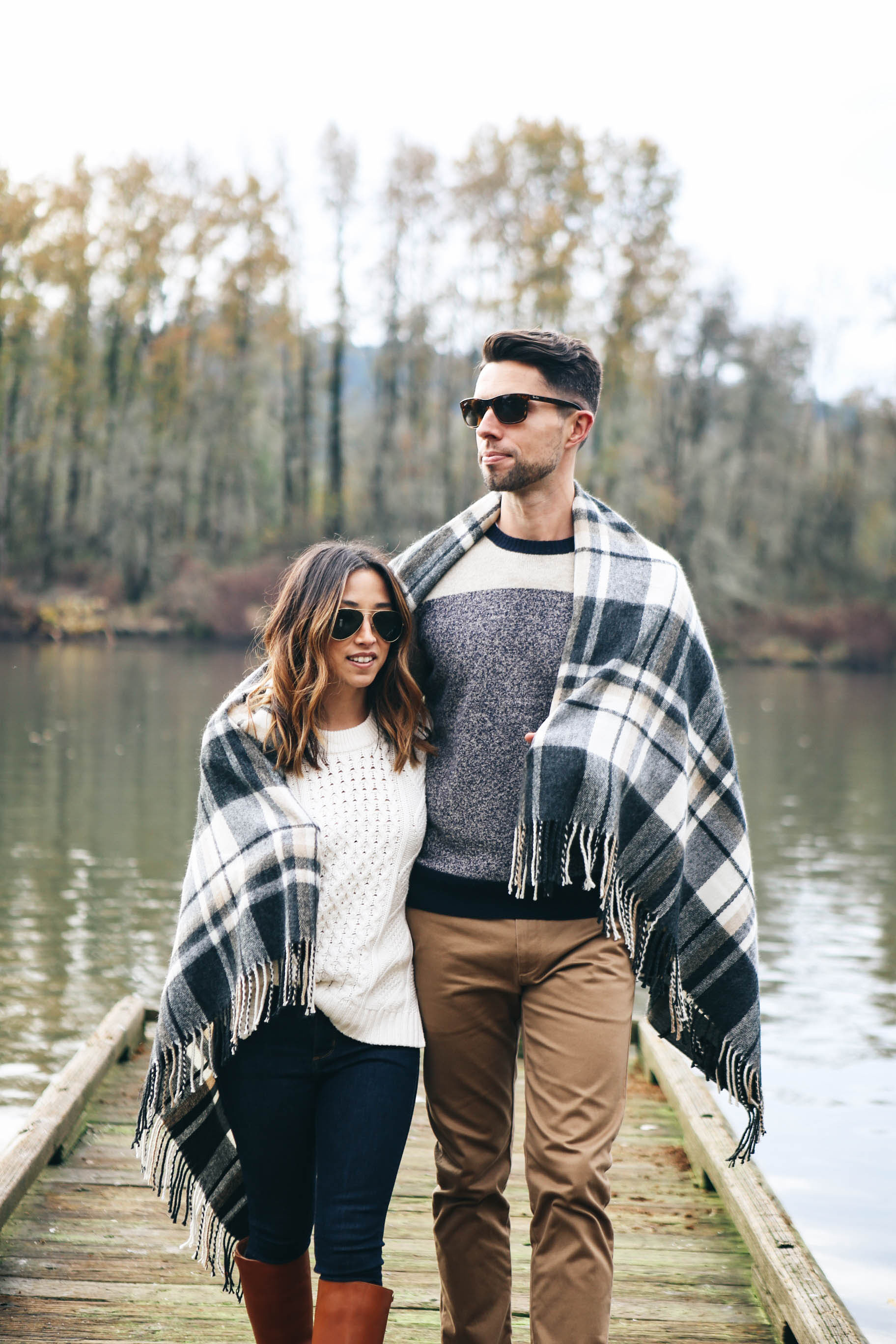 crystalin-marie-wearing-asos-plaid-blanket-scarf