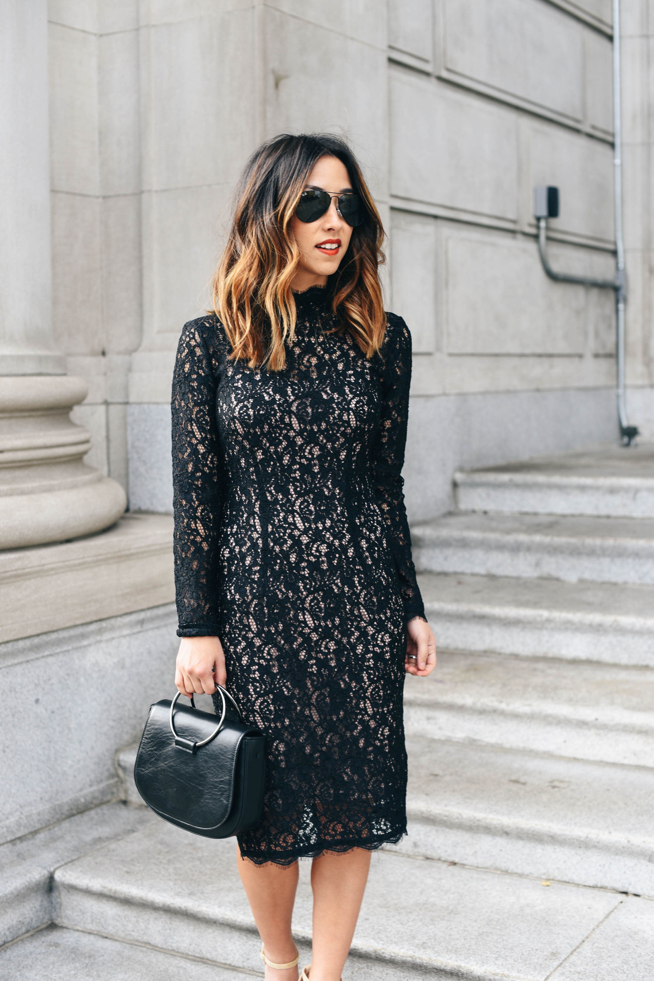 crystalin-marie-wearing-black-lace-sheath-adrianna-papell-dress