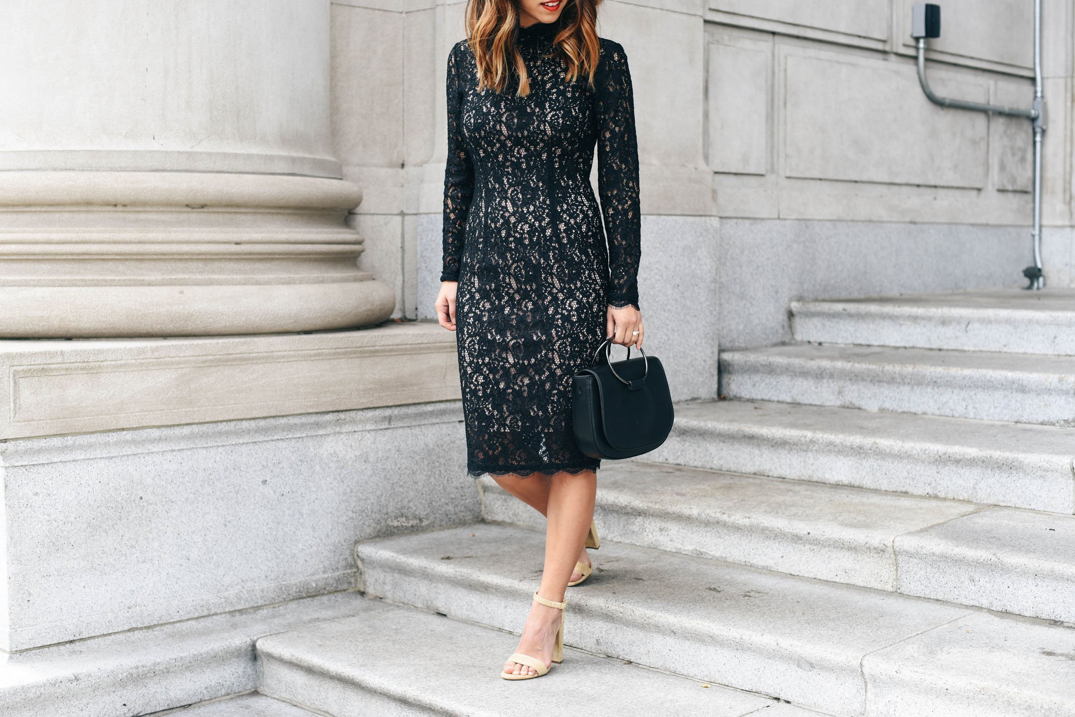 crystalin-marie-wearing-petite-adrianna-papell-lace-dress