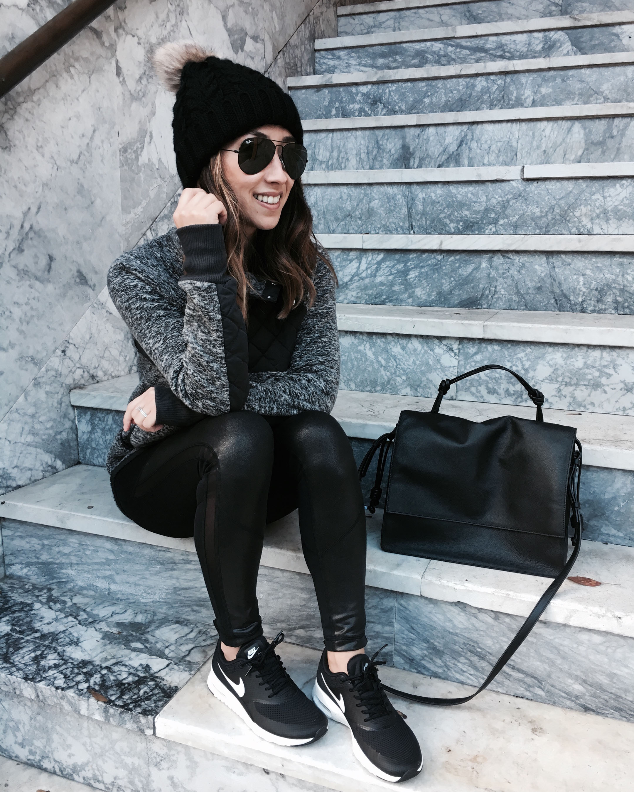 Outfit with Nike Air Max Thea Sneakers, Zara Coat and