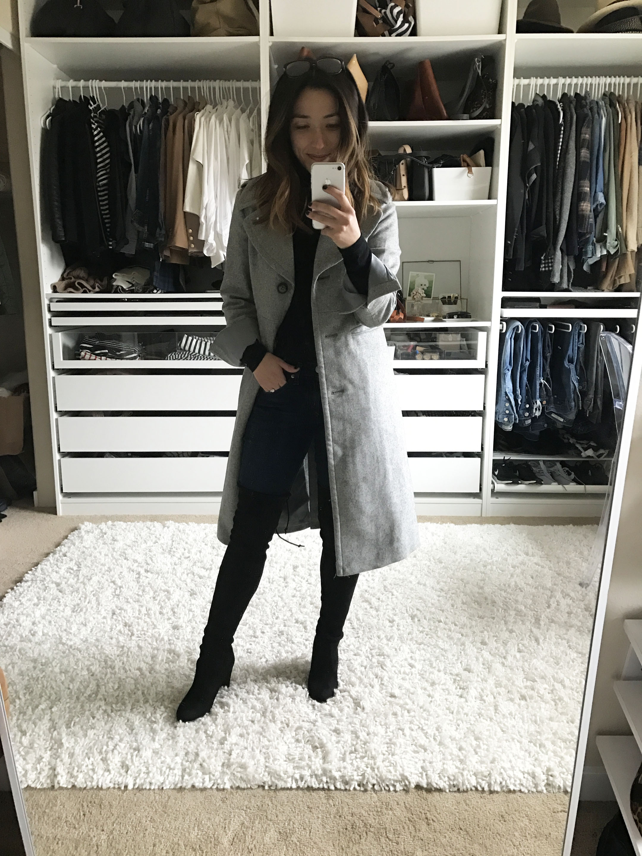 Banana Republic long gray coat