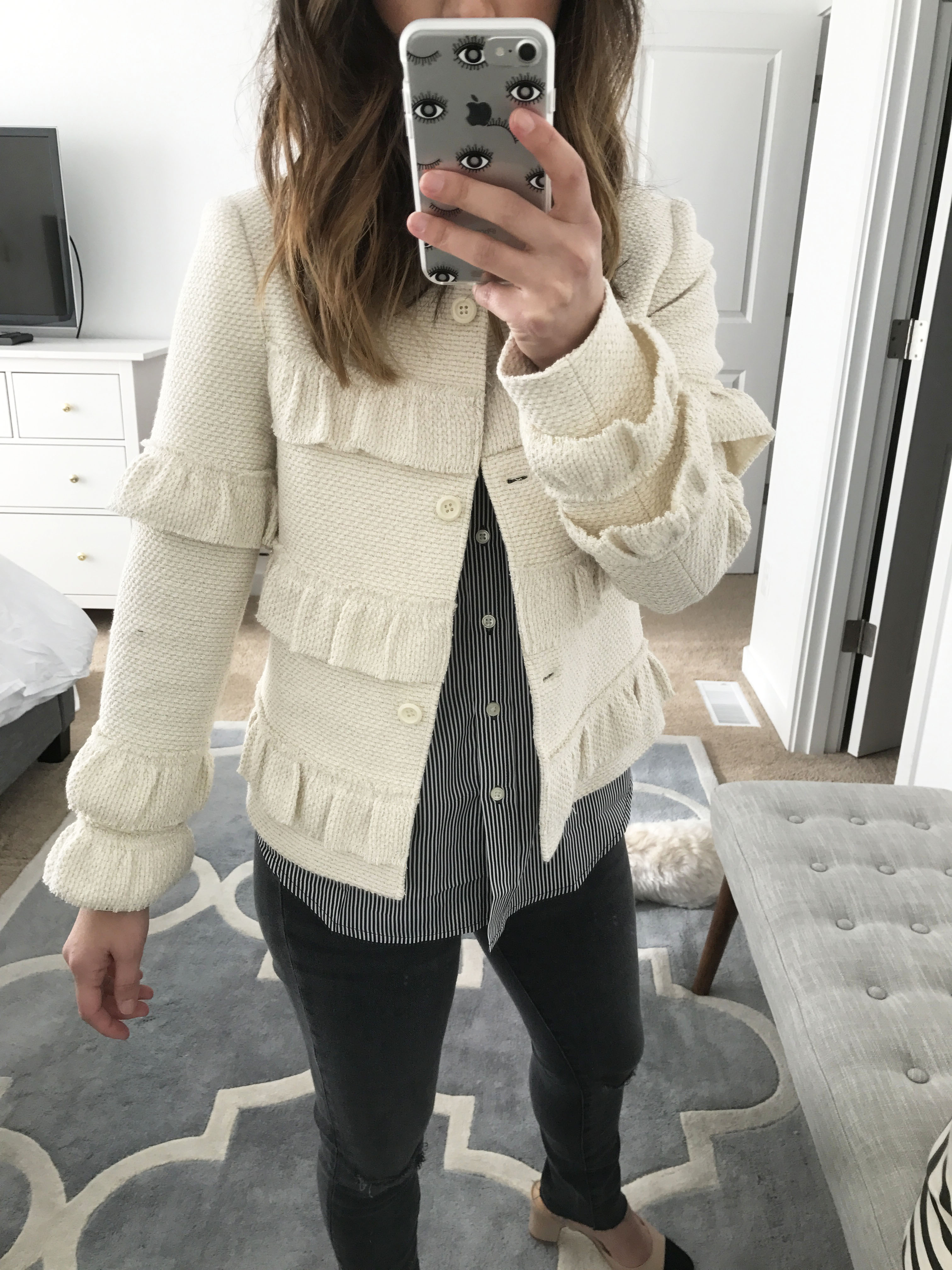 Club Monaco ruffle cropped jacket 2