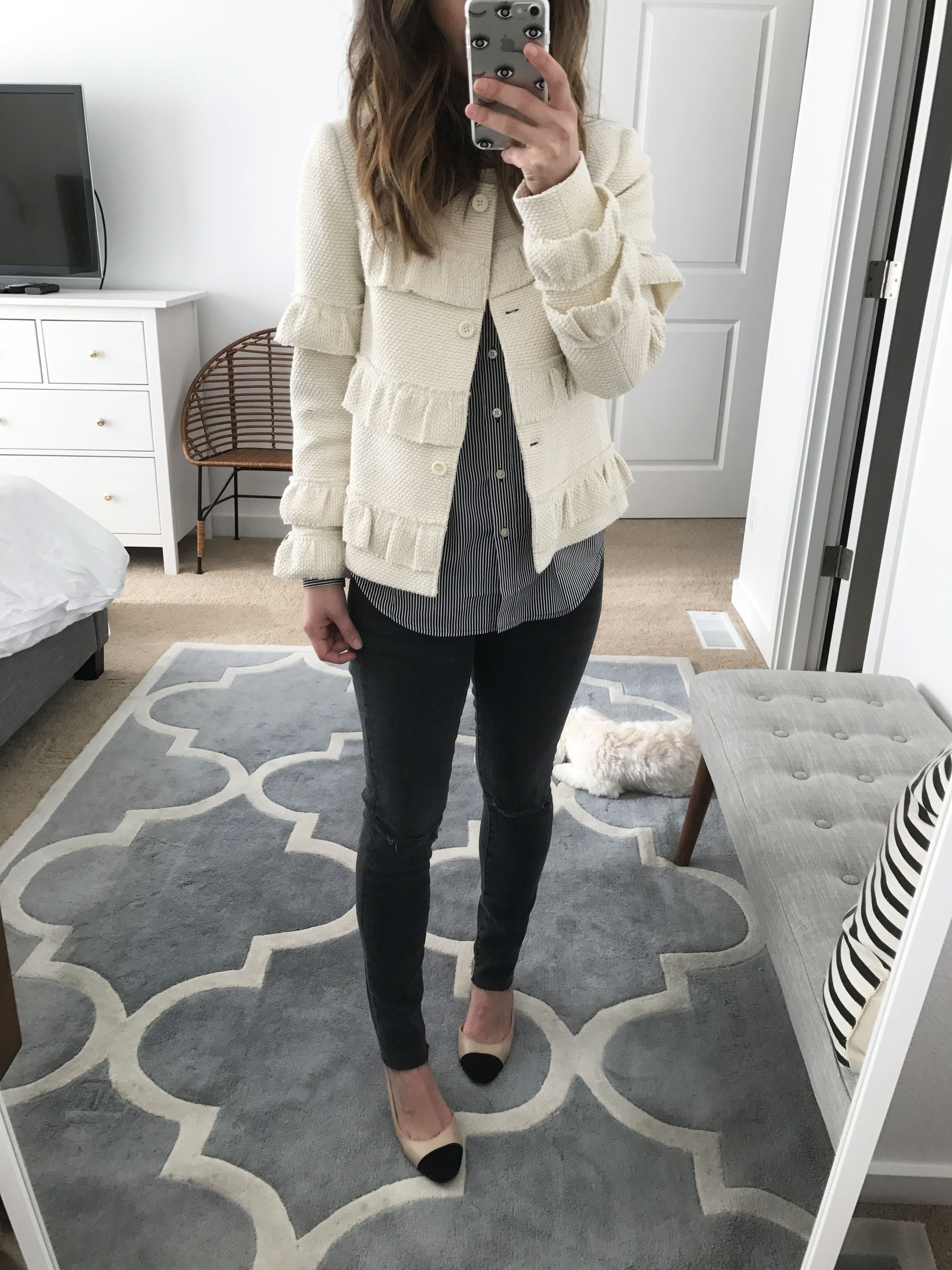 Club Monaco ruffle cropped jacket 3