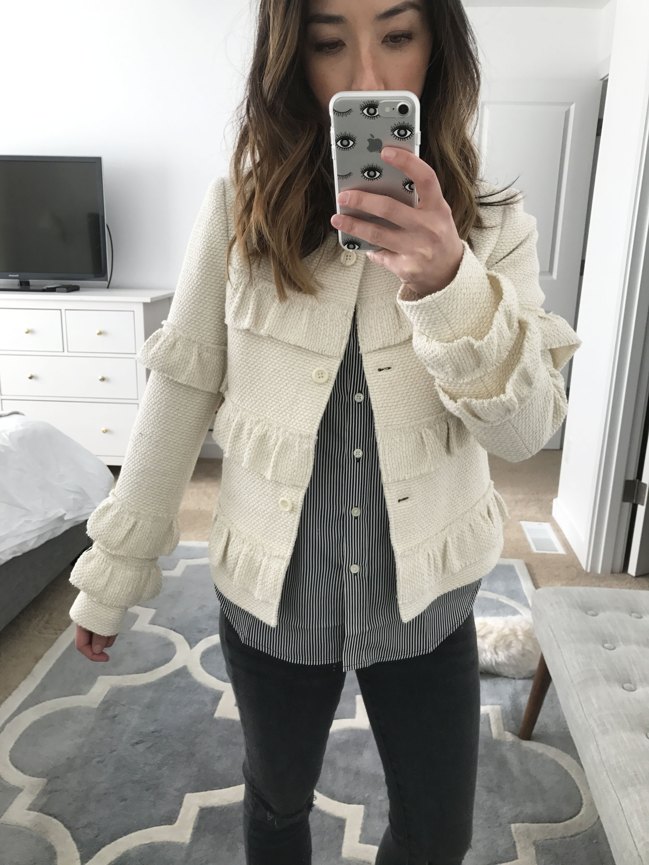 Club Monaco ruffle cropped jacket