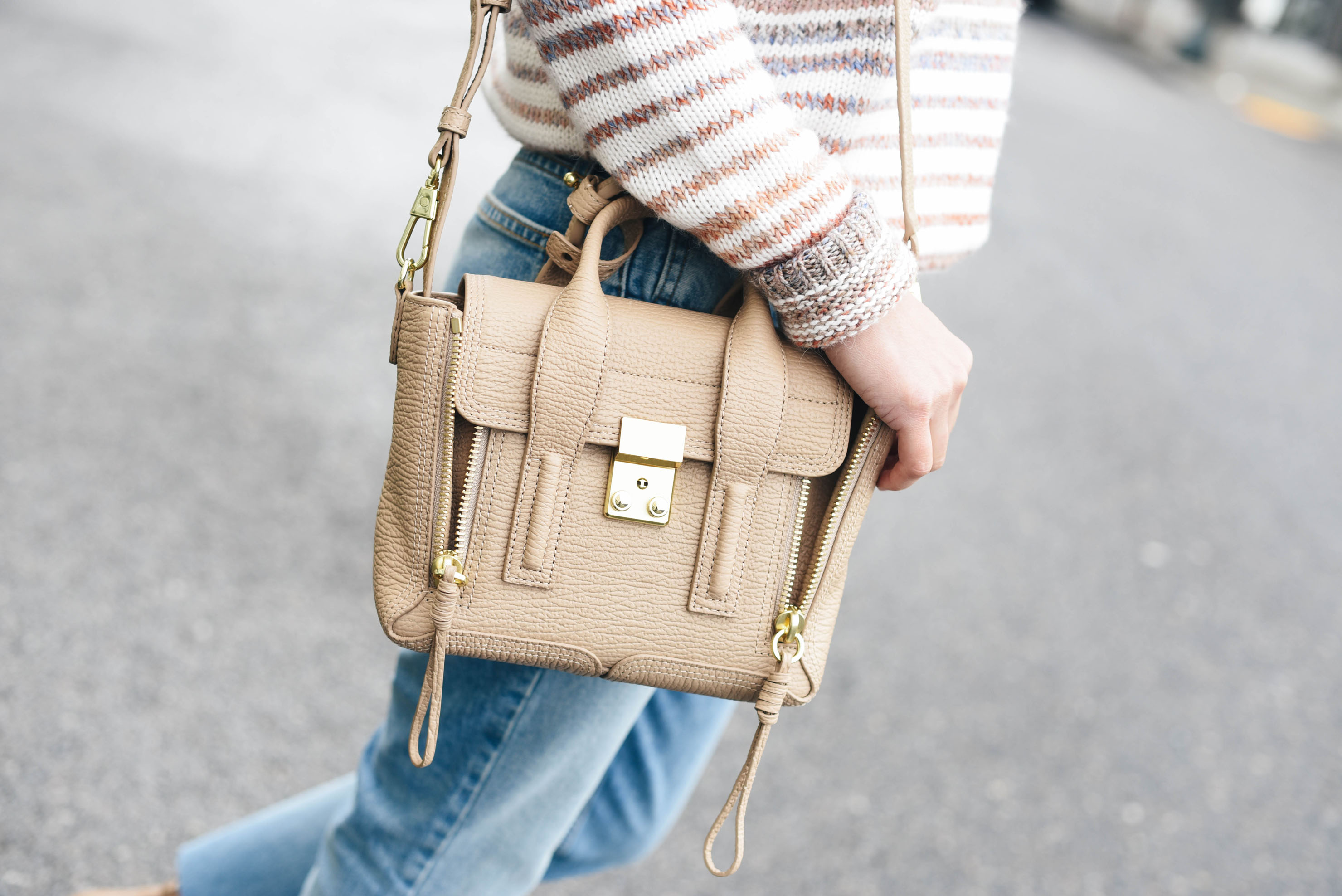 Crystalin Marie wearing 3.1 Phillip Lim Mini Pashli Leather Satchel in cashew
