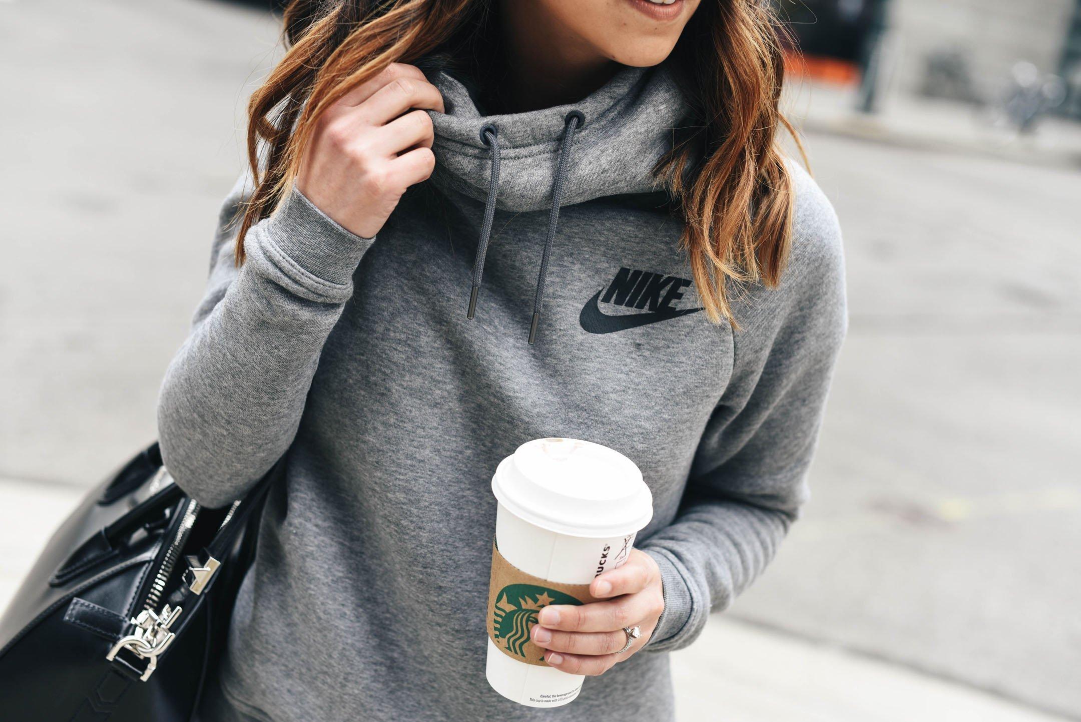 Crystalin Marie wearing Nike Funnel ralley sweatshirt