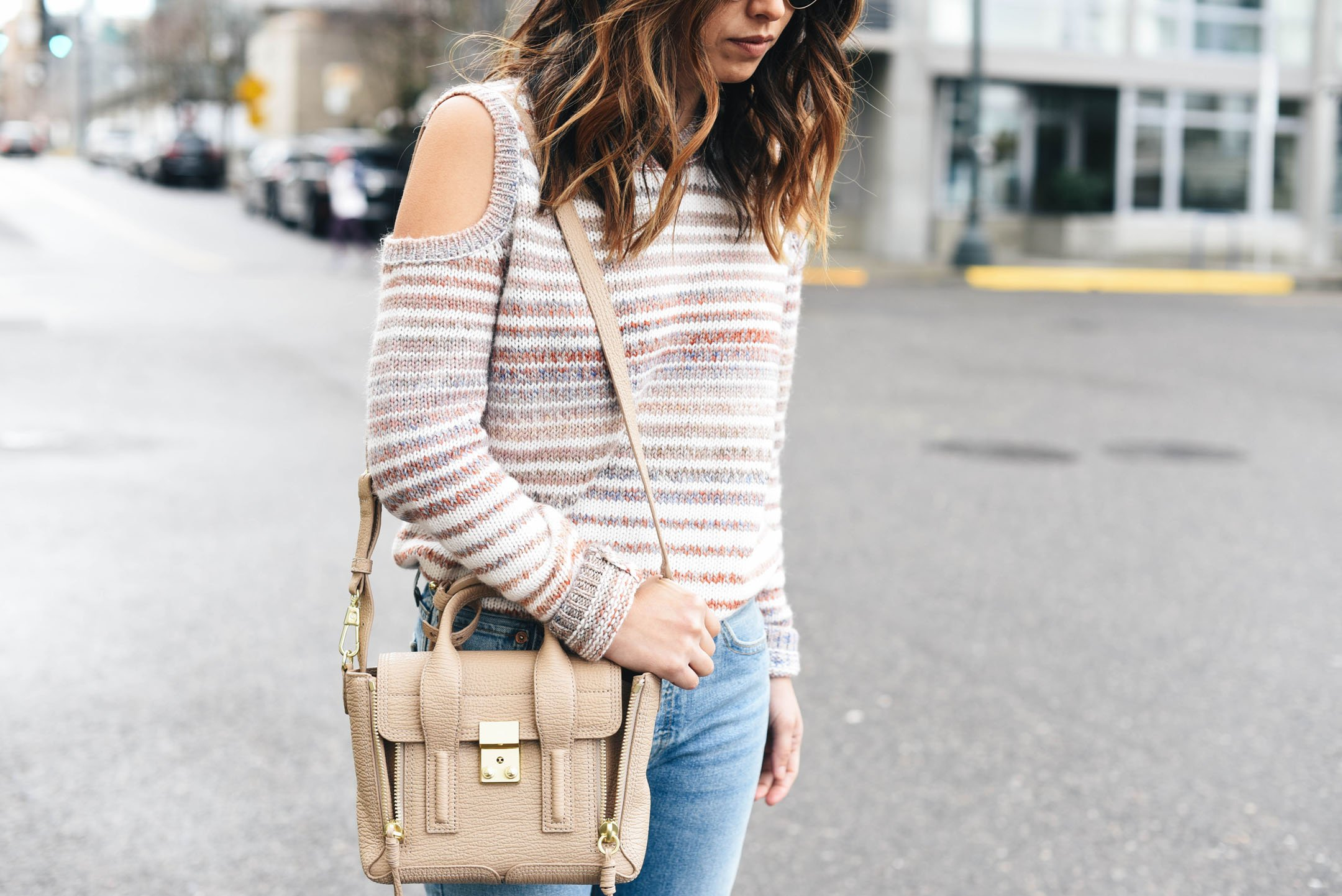 Crystalin Marie wearing Rebecca Minkoff Page Stripe Cold Shoulder Sweater