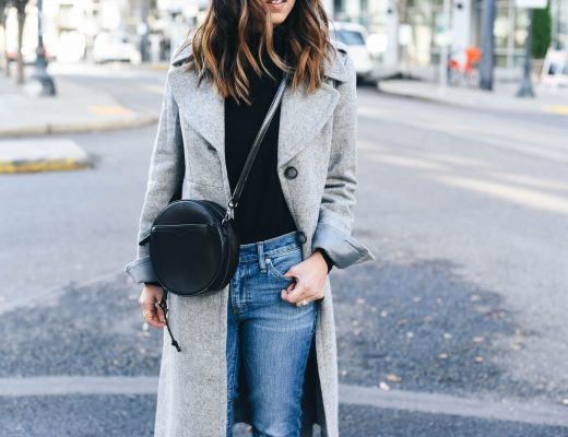 Crystalin Marie wearing Rebecca Minkoff round crossbody bag