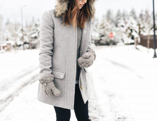 J.Crew faux fur hood wool coat