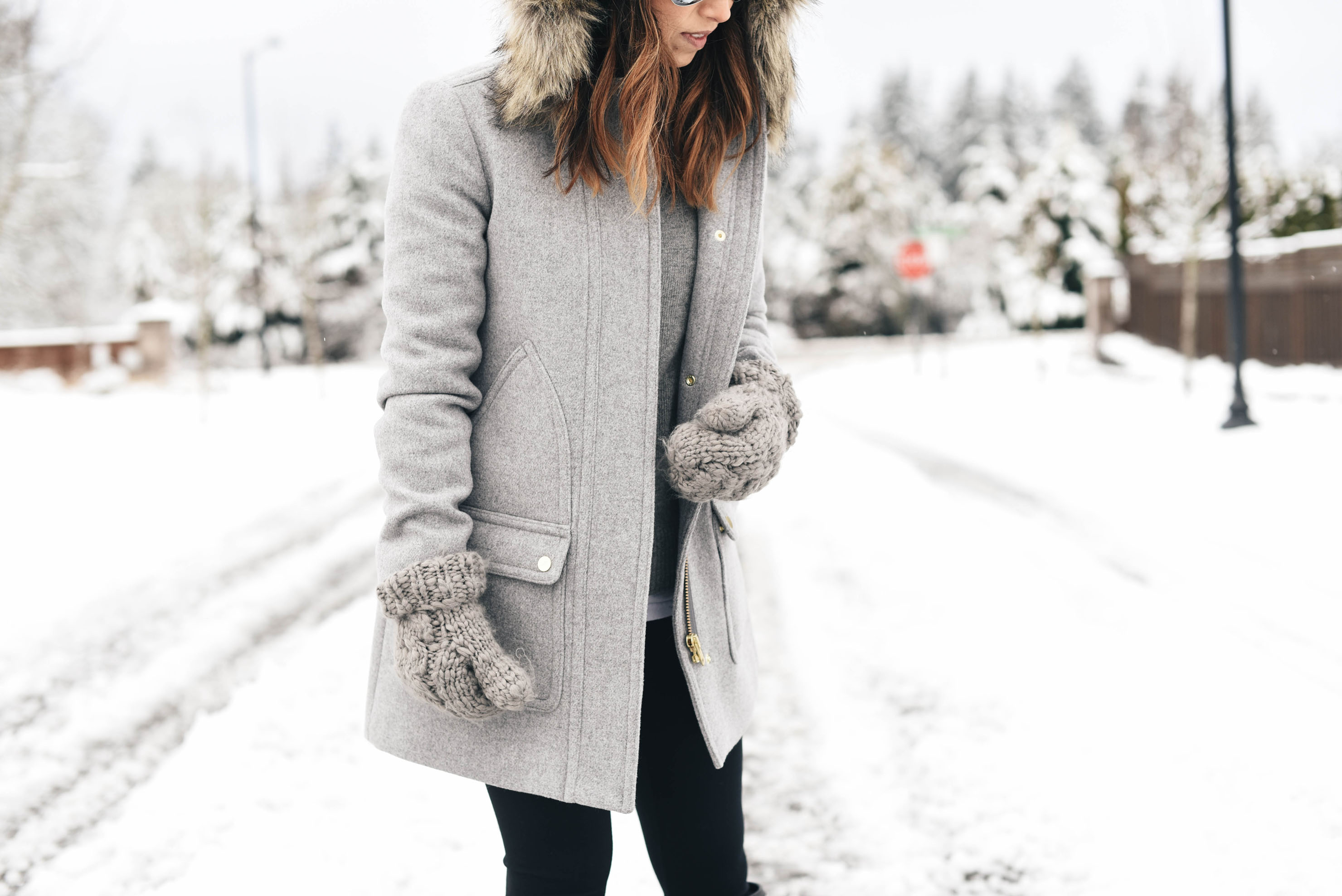 J.Crew faux fur hood wool coat