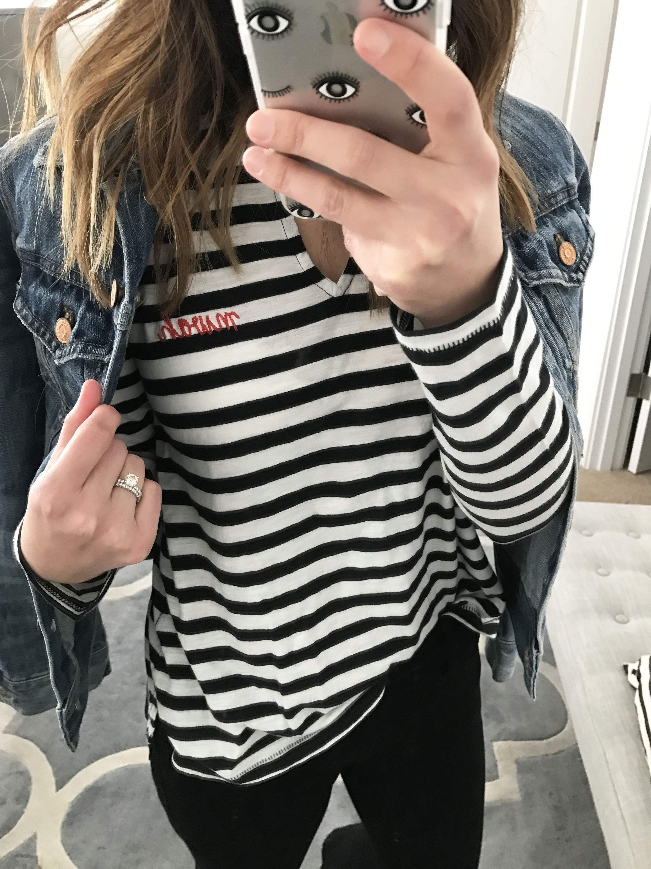 Madewell striped split neck tee 2