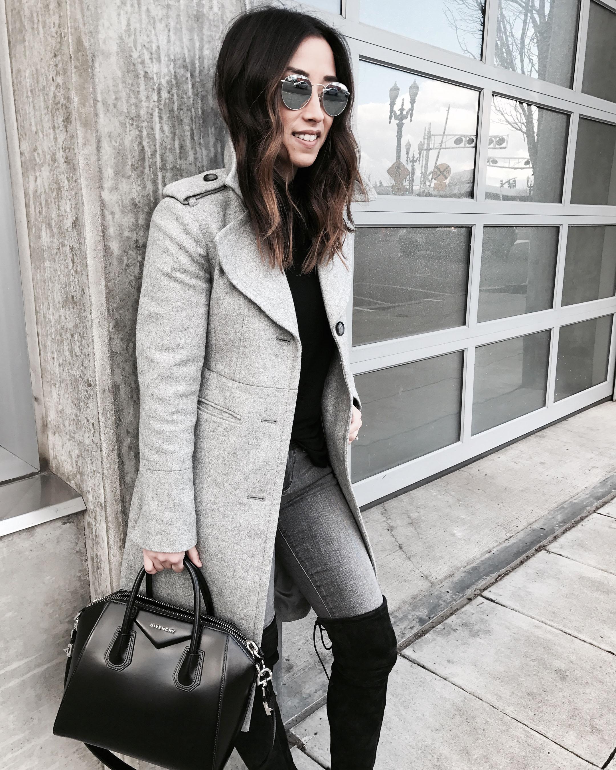 Banana Republic gray melton coat