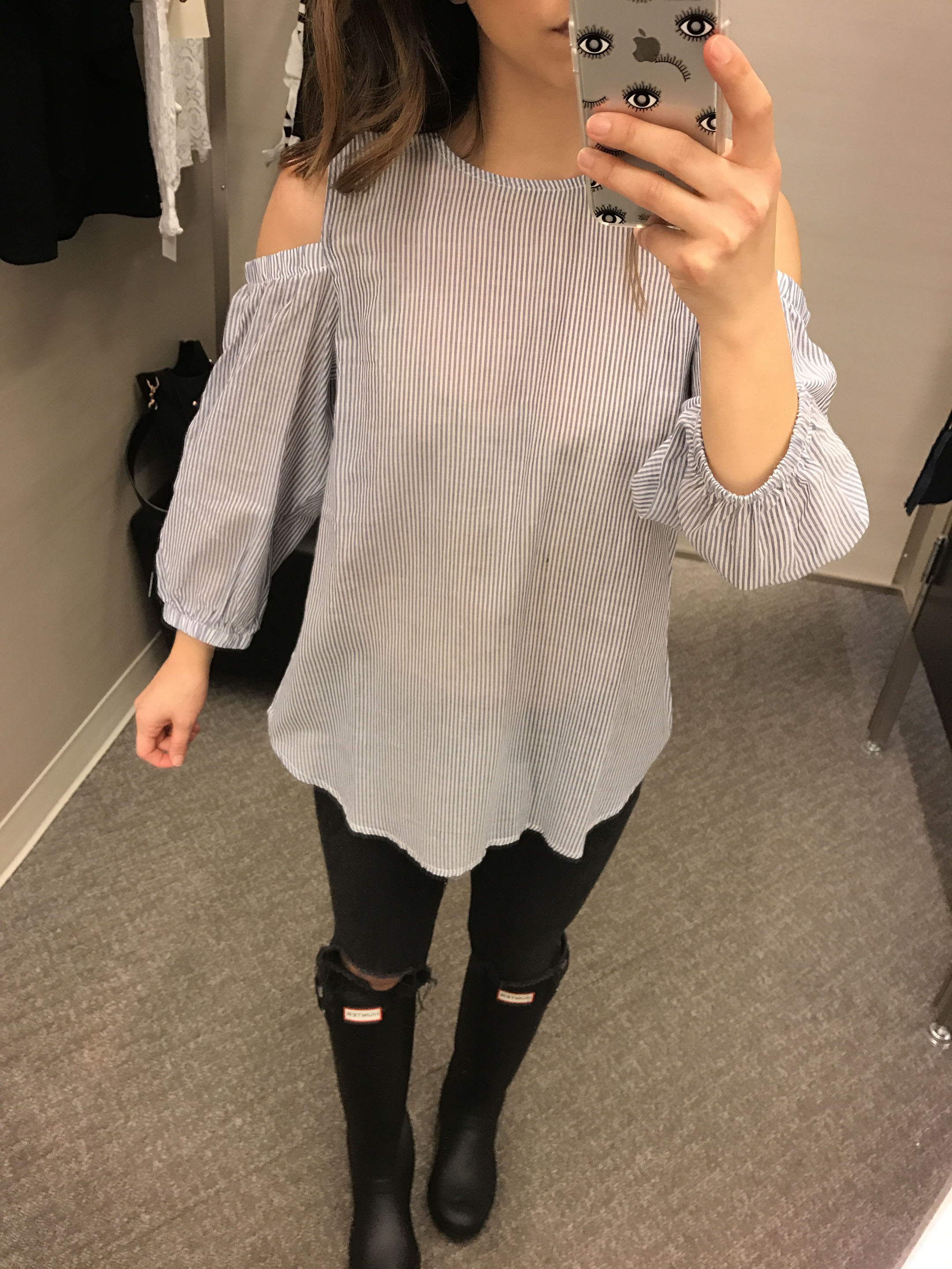 Bobeau cold shoulder blouse