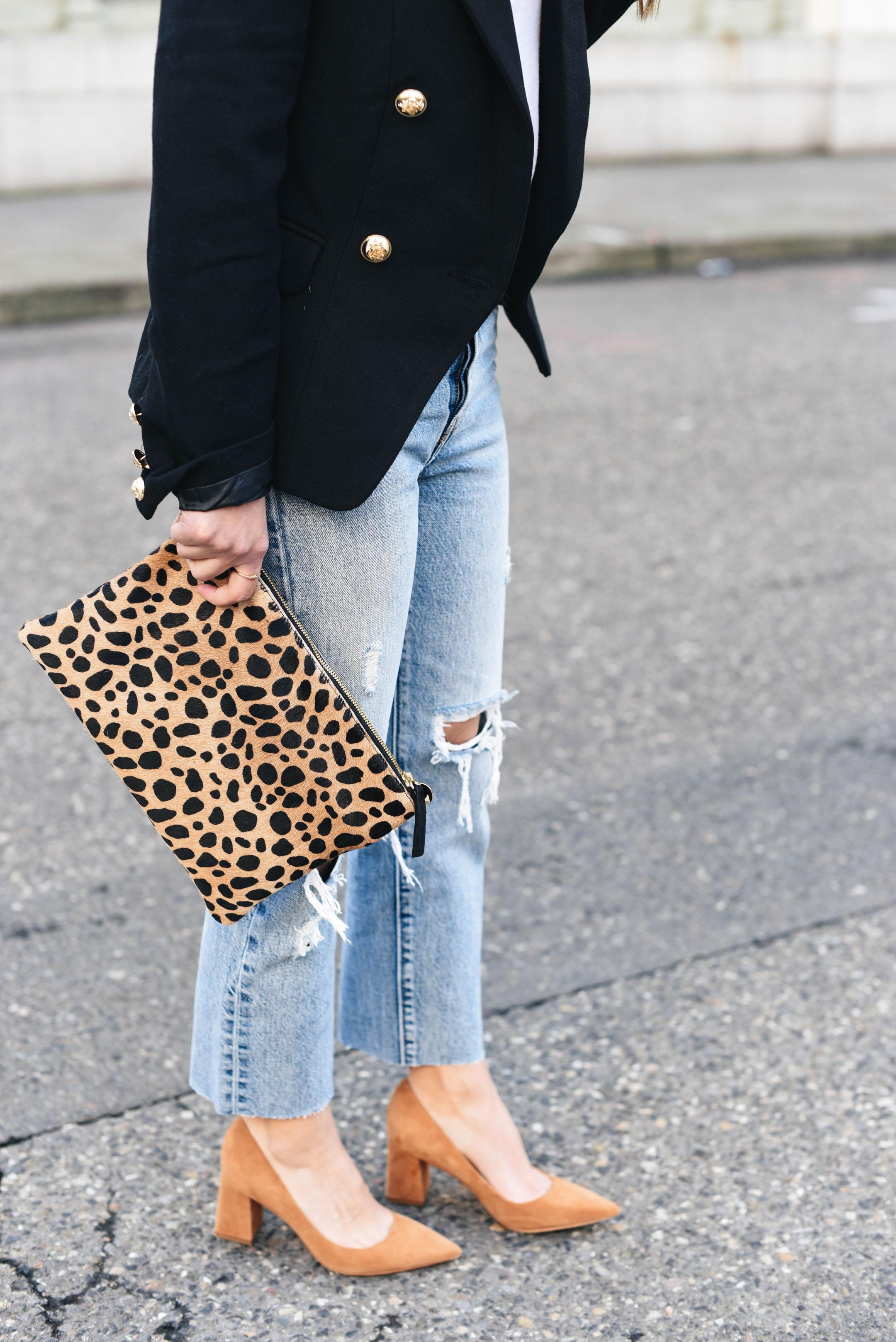 Clair Vivier leopard clutch