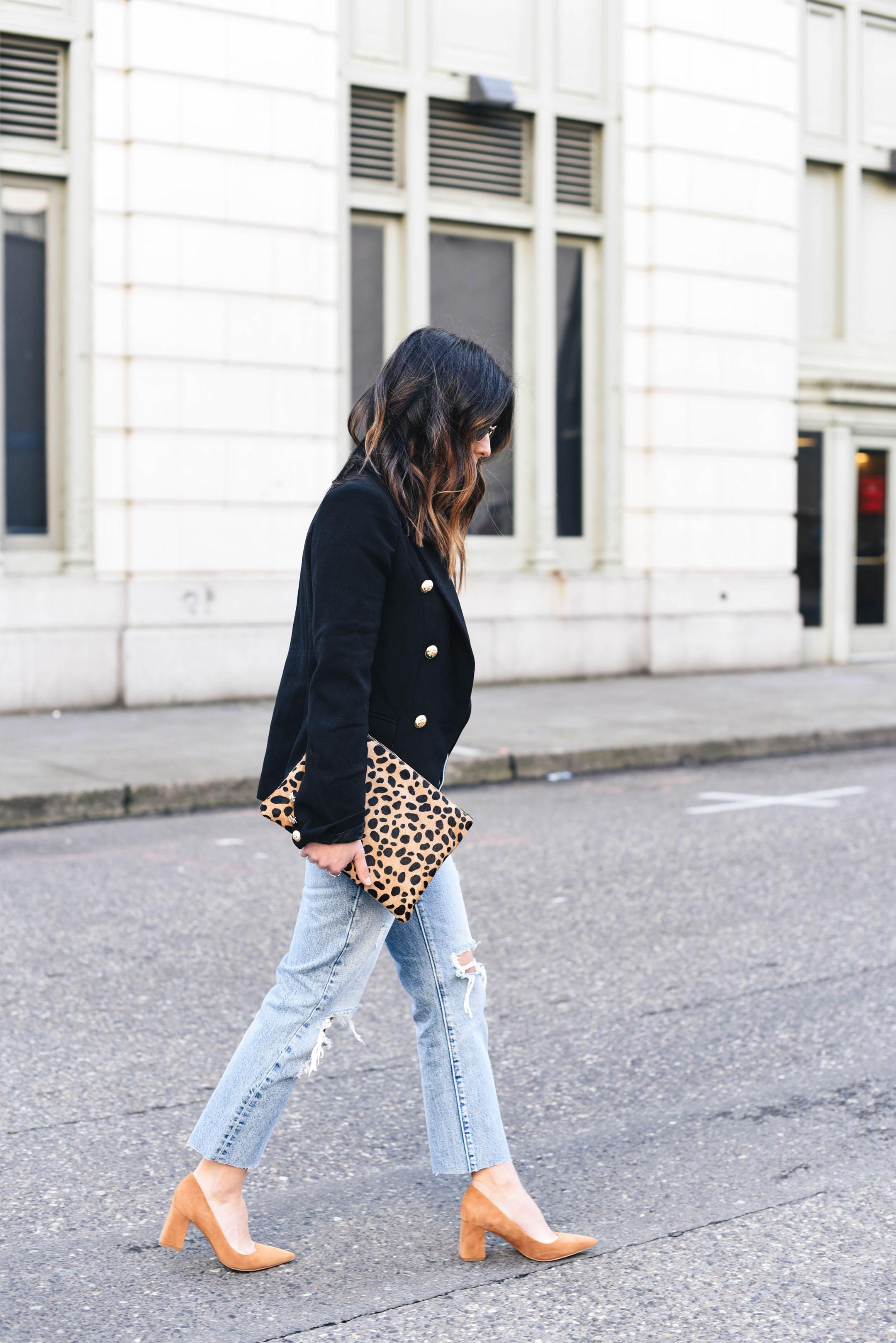 Clare V Leopard flat clutch