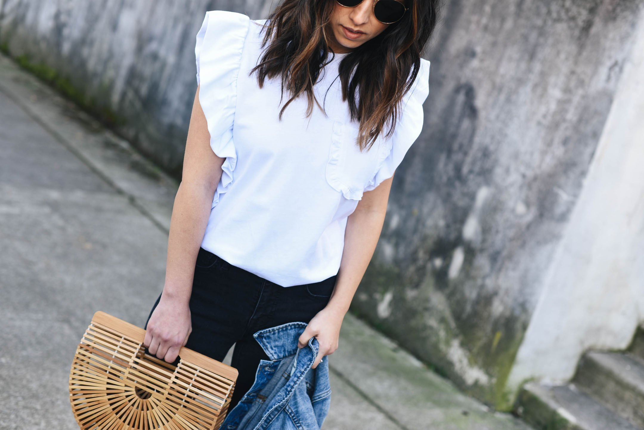 Crystalin Marie wearing MSGM Ruffle Sleeve Tee