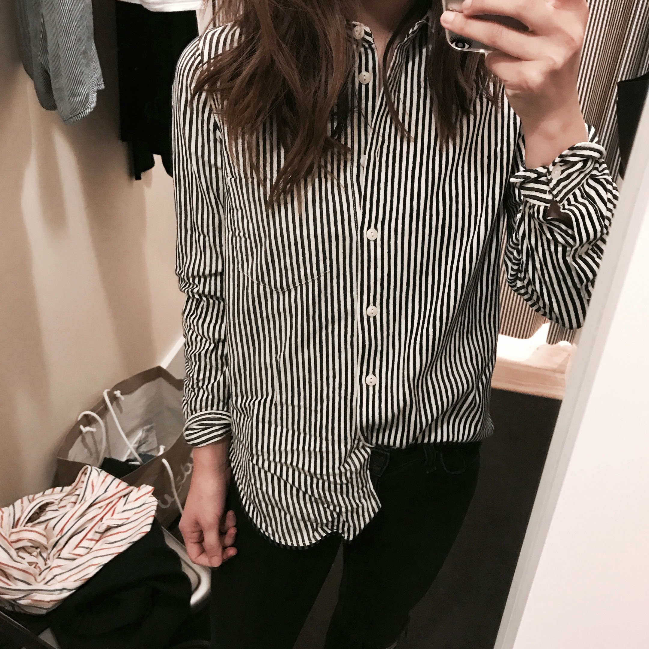 Madewell shruken striped button down