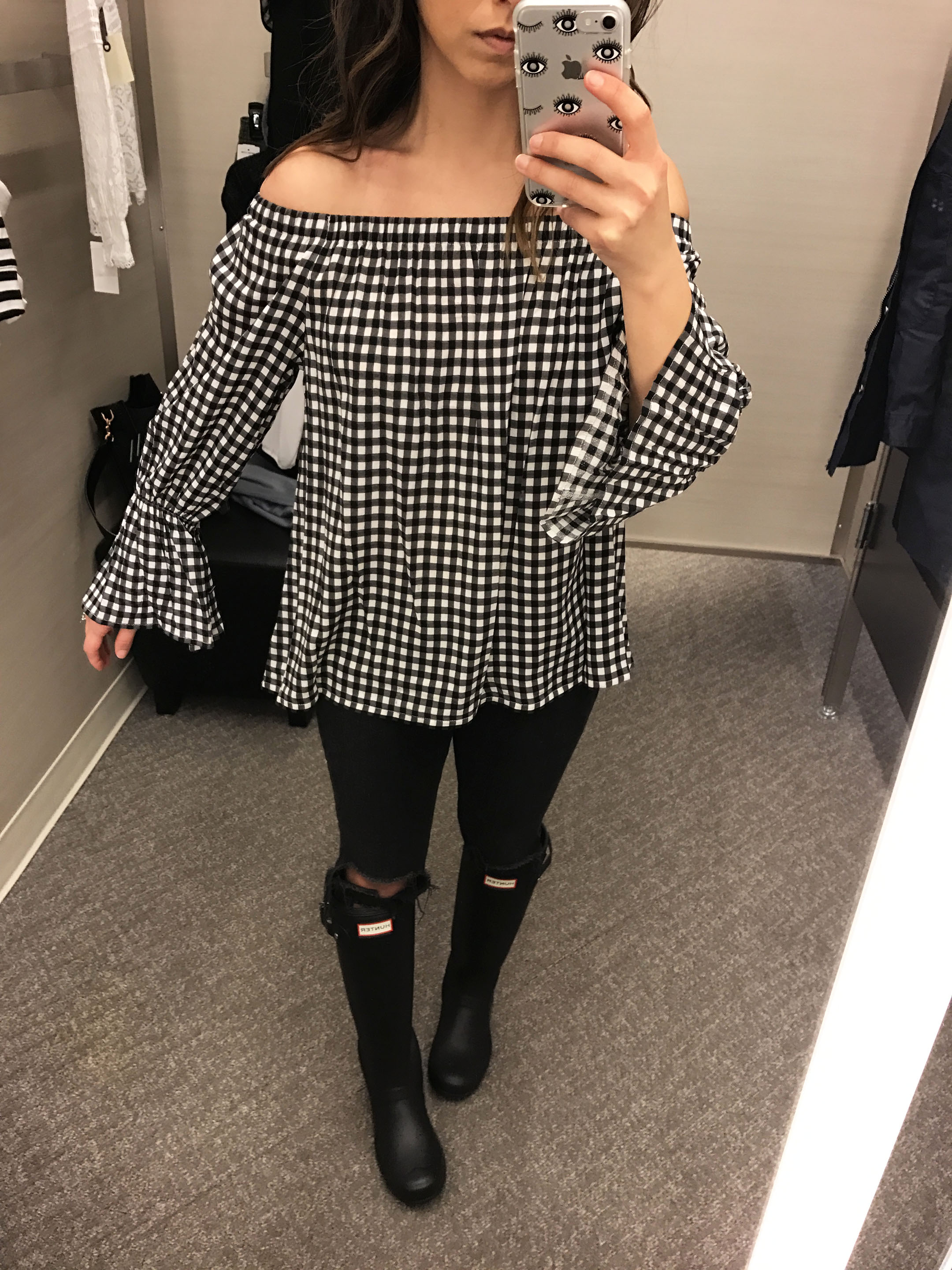 Sanctuary gingham off the shoulder top 2