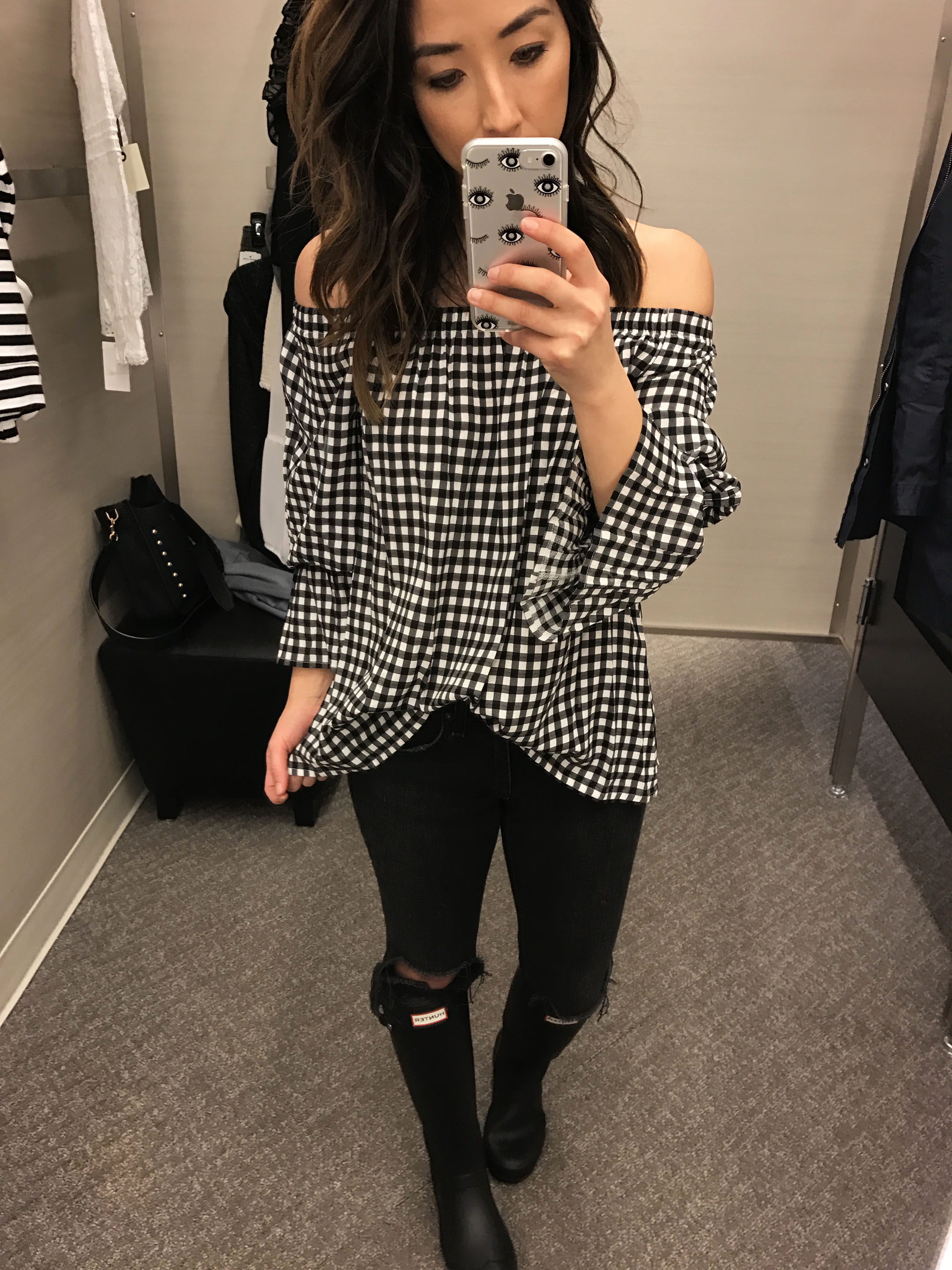 Sanctuary gingham off the shoulder top