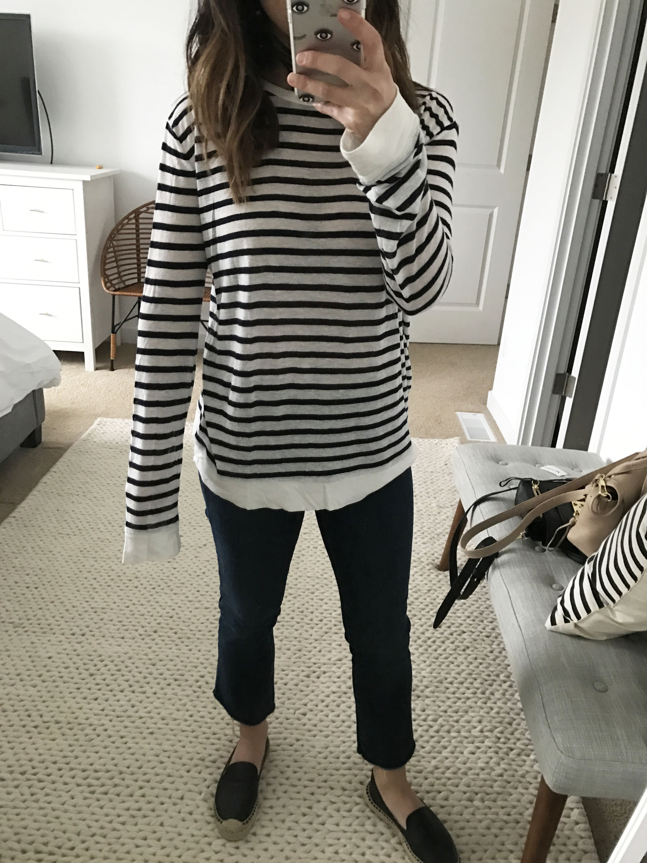 T By Alexander Wang linen striped tee