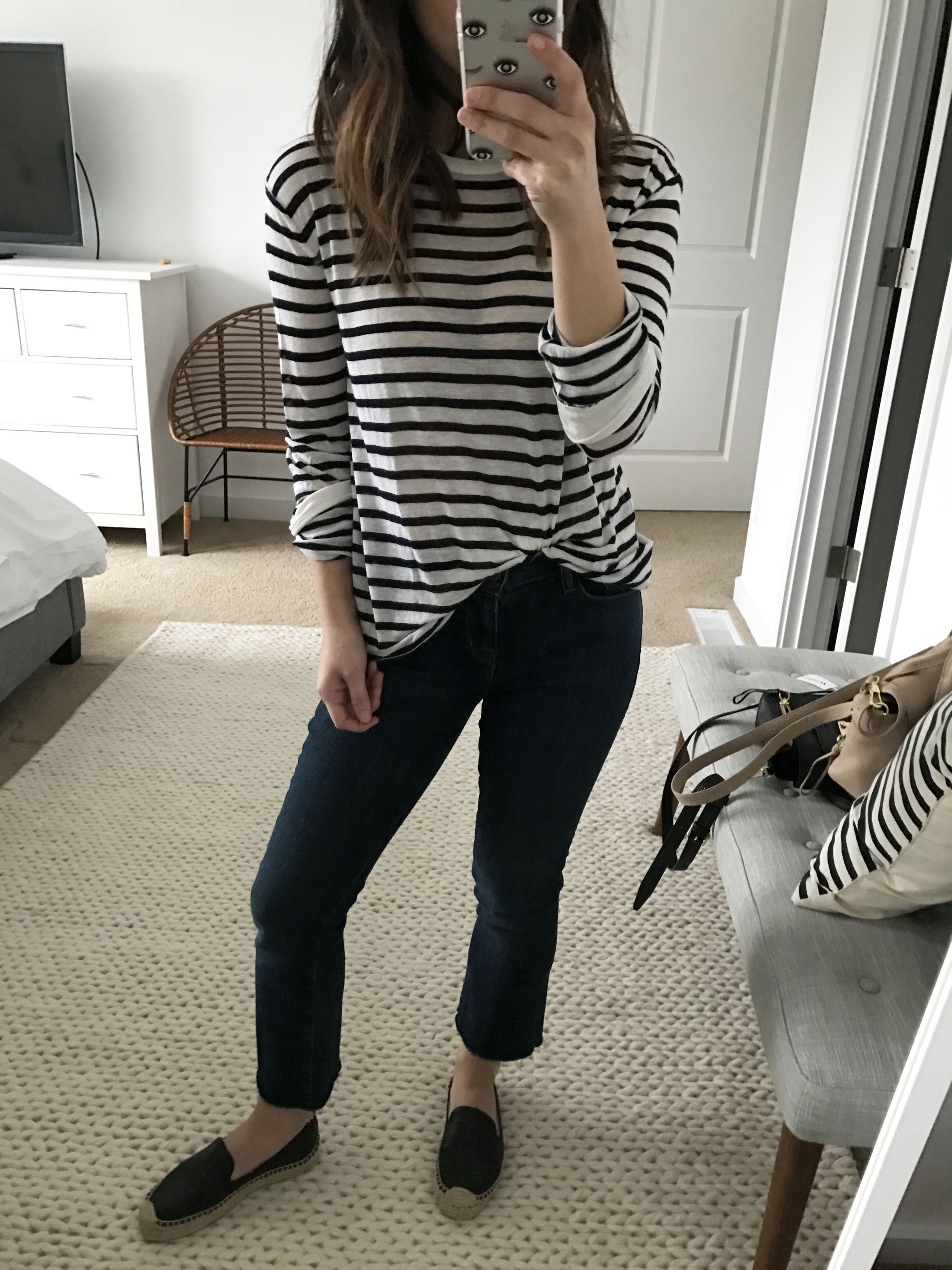 T By Alexander Wang linen striped tee 2