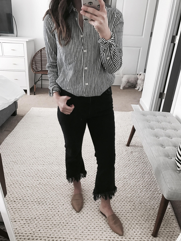 cropped fringe jeans
