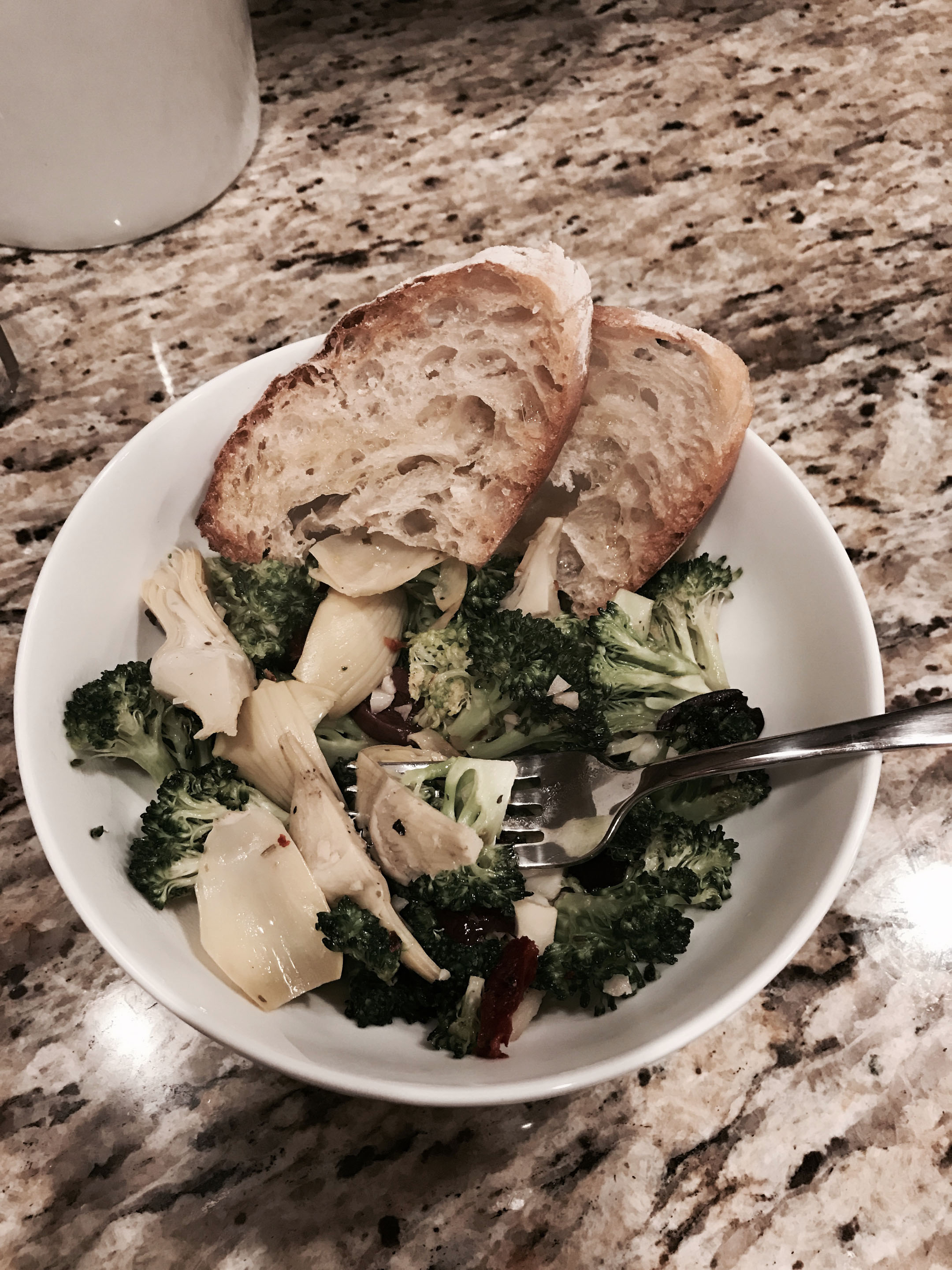 veggies and toasted bread