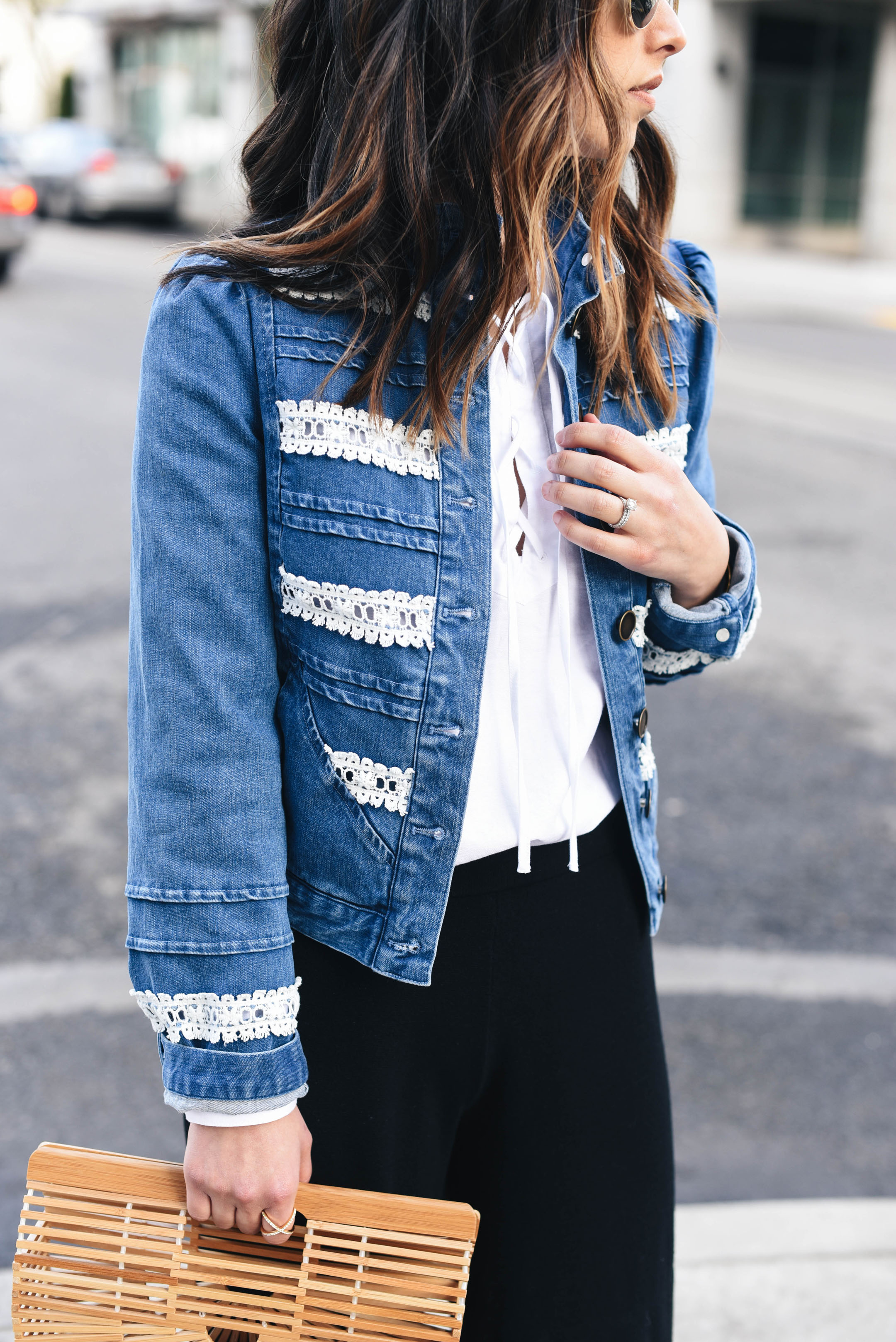 Anthropologie lace denim jacket